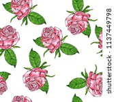 seamless pattern with pink... | Shutterstock . vector #1137449798