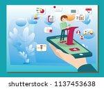 creative isometric webinar... | Shutterstock .eps vector #1137453638