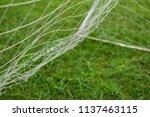 soccer goal net with green field   Shutterstock . vector #1137463115