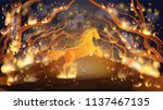 fire in the woods. trees on... | Shutterstock .eps vector #1137467135