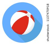 beach ball. a beach ball of red ... | Shutterstock .eps vector #1137470918