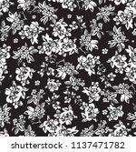 cute black and white  flower... | Shutterstock .eps vector #1137471782