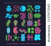 bacteria and microbe pixel art... | Shutterstock .eps vector #1137472562