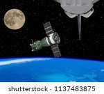 shuttle  spaceship and moon....   Shutterstock . vector #1137483875