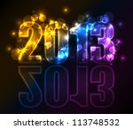 year 2013 with lights and stars ... | Shutterstock .eps vector #113748532