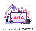 flat concept 404 error page or... | Shutterstock .eps vector #1137487922
