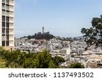 a view of the famous coit tower ... | Shutterstock . vector #1137493502