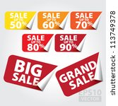 big sale and grand sale tags... | Shutterstock .eps vector #113749378