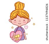 woman hairstyle and heart with...   Shutterstock .eps vector #1137496826