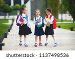 happy children girls girlfriend ... | Shutterstock . vector #1137498536