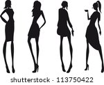silhouette fashion girls | Shutterstock .eps vector #113750422