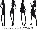 silhouette fashion girls | Shutterstock .eps vector #113750422
