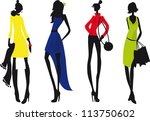 silhouettes of woman | Shutterstock .eps vector #113750602