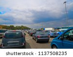 traffic jam with stopped cars... | Shutterstock . vector #1137508235