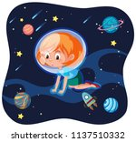 a young woman in space... | Shutterstock .eps vector #1137510332