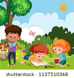 children drawing in the nature... | Shutterstock .eps vector #1137510368