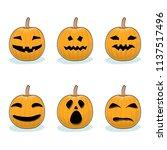 set of jack o lantern on white... | Shutterstock .eps vector #1137517496