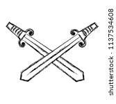 grunge swords medieval weapon... | Shutterstock .eps vector #1137534608