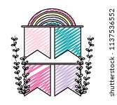 doodle ribbons with rainbow and ...   Shutterstock .eps vector #1137536552