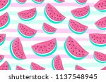 seamless watermelon pattern... | Shutterstock .eps vector #1137548945