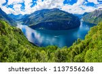 geirangerfjord aerial panoramic ... | Shutterstock . vector #1137556268