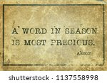 A Word In Season Is Most...
