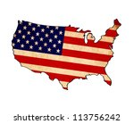 usa map on usa flag drawing ... | Shutterstock . vector #113756242