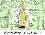 champagne poster design... | Shutterstock .eps vector #1137570218