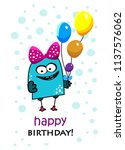 birthday greeting card with... | Shutterstock .eps vector #1137576062