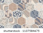 seamless ceramic tile with... | Shutterstock .eps vector #1137584675