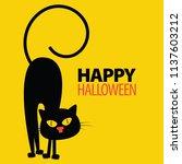 halloween element. black cats.... | Shutterstock .eps vector #1137603212
