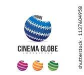 cinema globe logo illustration... | Shutterstock .eps vector #1137604958