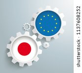 white gears with japan and eu...   Shutterstock .eps vector #1137608252