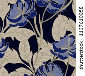 elegance pattern with flowers... | Shutterstock .eps vector #1137610058