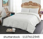 white linen and pillow | Shutterstock . vector #1137612545