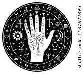 palmistry of the hand  black...   Shutterstock .eps vector #1137622895