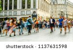 busy crowds of anonymous motion ... | Shutterstock . vector #1137631598