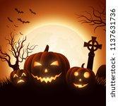 halloween background with... | Shutterstock .eps vector #1137631736