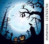 halloween background with... | Shutterstock .eps vector #1137631766