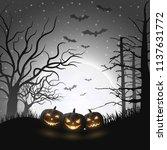 cartoon halloween pumpkins  | Shutterstock .eps vector #1137631772