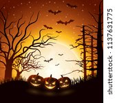 cartoon halloween pumpkins  | Shutterstock .eps vector #1137631775