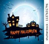 halloween background with... | Shutterstock .eps vector #1137631796