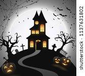 halloween night background with ... | Shutterstock .eps vector #1137631802