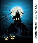 haunted house on a hill for... | Shutterstock .eps vector #113764522