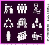 set of 9 people filled icons...   Shutterstock . vector #1137655538