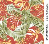 summer exotic floral tropical... | Shutterstock .eps vector #1137660608