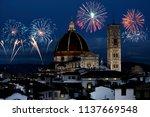 fireworks over florence ... | Shutterstock . vector #1137669548