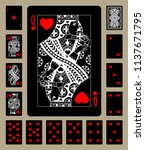 black playing cards of hearts... | Shutterstock . vector #1137671795