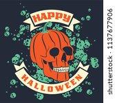 halloween pumpkin skull on dark ... | Shutterstock .eps vector #1137677906