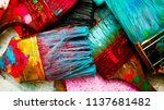 set of old brush for coloring...   Shutterstock . vector #1137681482